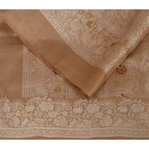 "Sanskriti Vintage Pure Silk Woven Brown Design Fabric Decor Indian Craft 42""X45"""