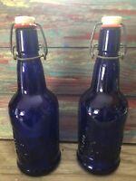 2 Vintage C. Z. Cap... Cobalt Blue Glass Bottles With Wire Bail Stopper