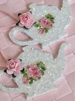 Shabby Cottage Chic Pink Roses Teapot Christmas Ornaments German Glass Glitter
