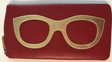 04770444949f ILI Genuine Leather Eyeglass Case In Red Gold