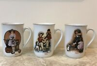 VINTAGE NORMAN  ROCKWELL COFFEE TEA MUGS CUPS Lot of 3 Gold Trim 1981