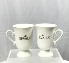 Set Of 2 Gevalia Coffee Mugs Bone China w/Gold Lettering & Trim Pedestal Base.