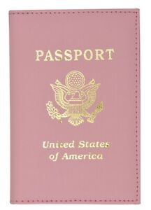 Pink Travel Leather USA Passport Organizer Holder Card Protector Cover Wallet