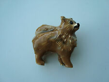 ERWIN PEARL GOLD PLATED ENAMEL ADORABLE POOCHES POMERANIAN DOG PIN BROOCH SIGNED