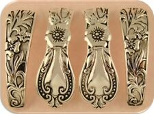 2 Hole Beads Cutlery / Spoon Pattern Bangle Bars Raised Filigree ~ Sliders QTY 4