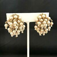 Vintage Coro Earrings Gold Tone Simulated Pearl Waterfall Style Screwback 9J
