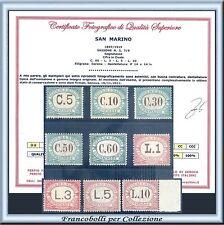 1897 San Marino Segnatasse Serie completa n. 1/9 Certificato Nuovi Integri **