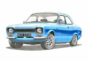 Ford Escort RS2000 Mk1 Greeting Card A5 size