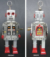 Large Sparkly Eyes SPACE ROBOT Windup Tin Toy  Clockwork Very Cool