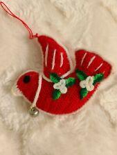"Vintage Christmas Ornament Red Bird Hand Sewn Plush Crochet Handmade 3.5"""