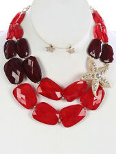 Two Layers Multi Red Lucite Bead Gold Tone Side Starfish Necklace Earring