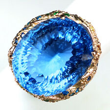 TOPAZ BLUE CONCAVE OVAL 32.7CT.SAPPHIRE 925 STERLING SILVER ROSE GOLD RING SZ 7