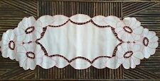 VINTAGE CUT WORK EMBROIDERED LINEN RUNNER/TABLE SCARF~FLOWERS & LEAVES