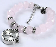 Henley Charm Bracelet Watch Dusky Pink Beads Real Crystal Ladies Gift Idea NEW