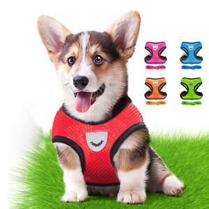 Pet Dog Puppy Adjustable Vest Harness Collars Soft Mesh Breathable With Leashes