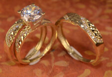 14k Yellow Gold Finish 2CT Diamond His & Her Trio Solitaire Wedding Ring Set