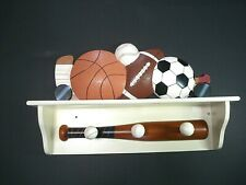 sports Wood Wall Hanging Shelf hooks baseball football basketball soccer hockey