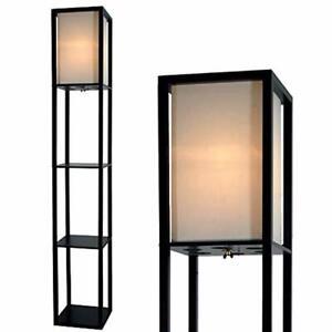 lampara madera de pie pantalla de lino iluminación ambiente estante organizador