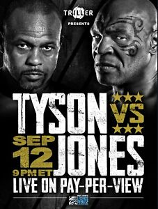 MIKE TYSON V ROY JONES VERY RARE PROMOTIONAL BOXING POSTER