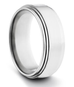 TungstenMasters 8MM/6MM TITANIUM Mens/Womens Polished Silver Wedding Band Ring