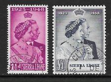 1948 KGVI Royal Silver Wedding Set SG203 & SG204 Very Fine Used SIERRA LEONE