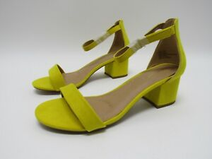 Lane Bryant Block heel Sandals Yellow Pastel Suede Women's Size 10 W