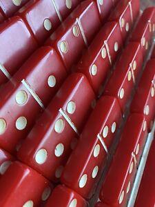 Vintage, Cardinal RED BAKELITE 28 PC DOMINOES W/RULES OF PLAY, TRAY & LID