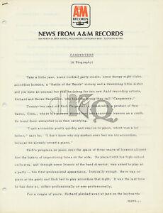 Carpenters - A Biography - 1971 [USA] - Press Kit
