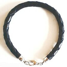 BLACK THICK ROUND QUALITY LEATHER BRACELET STRAP PLAITED WOVEN HANDMADE