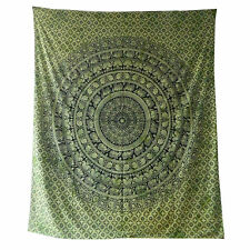 Colcha elefantes estilo Cachemira Paisley verde negro 230x210cm India decorar