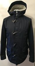MENS H&M NAVY BLUE HOODED SOFT SHELL TOGGLE JACKET SIZE EUR 46 US 36R UK SMALL