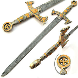 "38"" Damascus Steel Templar Crusader Medieval Knight's Arming Sword with Sheath"