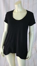 Left of Center Anthropologie T-shirt XS Black Cotton Knit Pullover Pockets