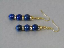 Lapis Lazuli Gemstone & Sparkly Gold Diamante Drops Gold Plated Earrings Nice!