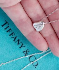 """Tiffany & Co Elsa Peretti Full Curved Heart Pendant Sterling Silver Necklace 16"""""""