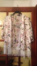 Kimono Fleuri Blanc A Frange New Look Taille Us 12 Taille Fr