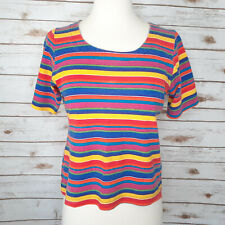 Vtg 80s 90s Colorful Rainbow T-Shirt Top Size S Crop Stripe 100% Cotton USA Made