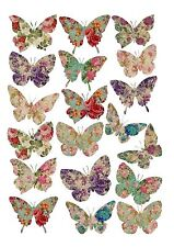 19 icing cupcake cake toppers decorations edible Floral butterflies images ND3