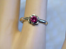 dainty red ruby flower antiqued 925 sterling silver ring size 7 USA made