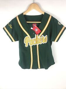 Women's NFL Green Bay Packers Baseball Jersey Button Up Small Polyester NWT