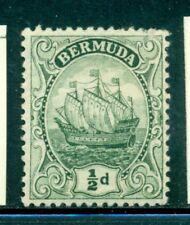 BERMUDA 41a SG45a MH 1918 1/2p deep grn Caravel Wmk Mult Crown CA Cat$15