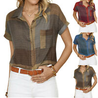 Womens Short Sleeve Plaid Shirts Casual Blouse Summer Holiday Beach Tunic Tops