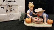 "Denim Days by Homco, 1985 Danny & Debbie- ""Bobbing for Apples"" Figurine - #1527"