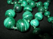 Vintage Malachite Hand Carved Necklace Graduated Stone Beads