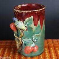 Chinese Old Jingdezhen ceramic Enamel 3D Bird Flower Colorful Brush Pot Pen Vase