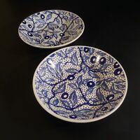 2 assiettes creuses céramique faïence GIEN Emilie art déco 1950 France N4628