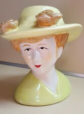 """Vintage Lady Head Figurine In Lemon Colored Dress and Hat 5 3/4"""" inches tall"""