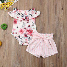 5acf7787111e US Newborn Kid Baby Girl Clothes Ruffle Romper Floral Shorts Summer Outfits  Set