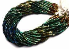 """Natural Gem Multicolor Chrysocolla 4MM Micro Faceted Rondelle Beads Strand 13"""""""