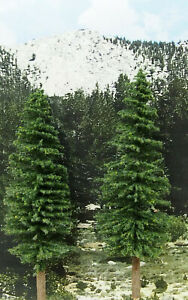 "3X HO or O Scale Ponderosa PINE TREES 11-12"" premium for train scenery diorama"